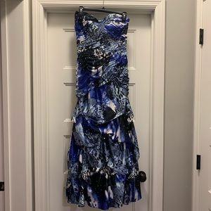 Strapless Formal Print Dress